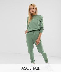 Asos Design Tall Tracksuit Cute Sweat Basic Jogger With Tie With Contrast Binding Green