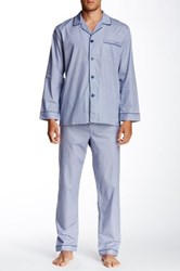 Majestic Long Sleeve Piped Pajama Set Blue