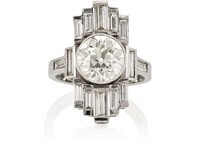 Stephanie Windsor Antiques Women's Art Deco White Diamond Ring Silver