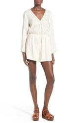 Women's Astr Embroidered Bell Sleeve Romper