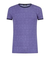 Zegna Ocean Stripe T Shirt Male Blue