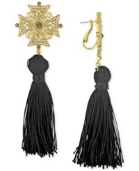 Rachel Roy Gold Tone Tassel Drop Earrings Black