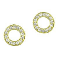 London Road Meridian 9Ct Gold Diamond Circle Stud Earrings Yellow Gold