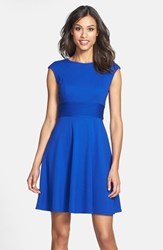 Women's Eliza J Pintucked Waist Seamed Ponte Knit Fit And Flare Dress Cobalt