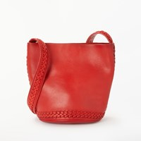 And Or Isabella Leather Whipstitch Large Bucket Bag Red