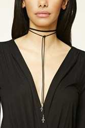 Forever 21 Layered Faux Suede Cross Choker B.Silver Black