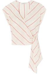 Madewell Striped Cotton Voile Wrap Top White