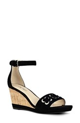 Nine West Women's Julian Wedge Sandal Black Suede