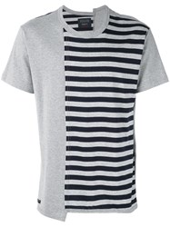 Yohji Yamamoto Striped Print T Shirt Men Cotton Rayon 3 Grey