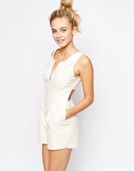 Lashes Of London Playsuit With Deep Plunge Front In Textured Rose Cream