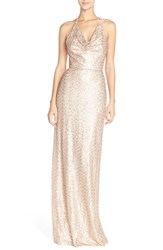 Amsale Women's 'Honora' Draped Sequin Tulle Halter Gown Rose Gold