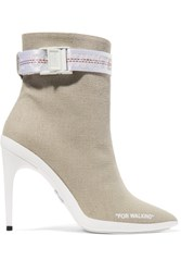Off White For Walking Buckled Canvas Ankle Boots Sand Gbp