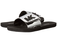 Michael Michael Kors Mk Slide Silver Mirror Metallic Women's Sandals