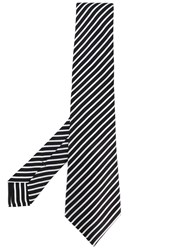 Kiton Diagonal Stripes Tie Men Silk One Size Black