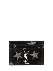 Saint Laurent Glitter Stars Suede Card Holder