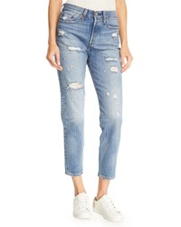 Levi's Premium Partner In Crime Wedgie Icon Fit High Waist Distressed Tapered Leg Jeans Medium Blue