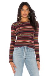 Autumn Cashmere Multi Stripe Crew Red