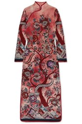 F.R.S For Restless Sleepers Satin Trimmed Floral Print Silk Crepe De Chine Maxi Dress Pink