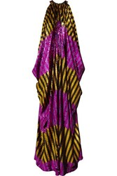 Halpern Draped Striped Sequined Tulle Gown Purple