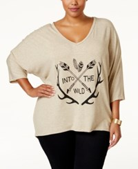 Ing Plus Size Owl Graphic T Shirt Oatmeal