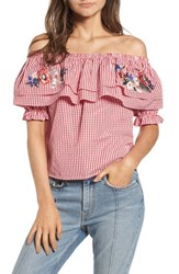 Lost Wander Embroidered Gingham Off The Shoulder Top