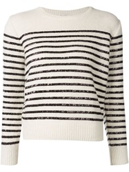 Saint Laurent Sequin Striped Sweater White