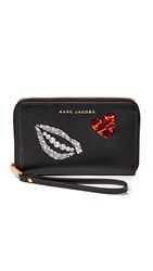 Marc Jacobs Sequin Hand To Heart Zip Wristlet Black