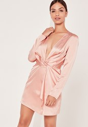 Missguided Silky Plunge Wrap Shift Dress Pink