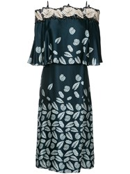 Yigal Azrouel Leaf Print Off Shoulder Dress Blue