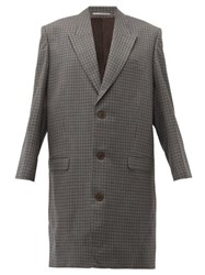 Martine Rose Oversized Checked Wool Overcoat Grey