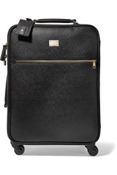 Dolce And Gabbana Sicily Carry On Textured Leather Suitcase Black