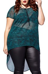 Mblm By Tess Holliday Plus Size Women's Print High Low Chiffon Top