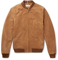 A.P.C. Louis W The Ferris Slim Fit Suede Bomber Jacket Camel