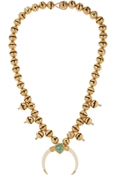 Aura Lie Bidermann Gold Plated Turquoise And Faux Horn Necklace