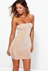 Boohoo Textured Sliky Bandeau Bodycon Dress Gold