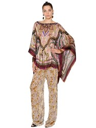 Etro Paisley Printed Satin And Chiffon Poncho