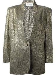 Gianfranco Ferre Vintage Jacquard Jacket And Skirt Suit Metallic