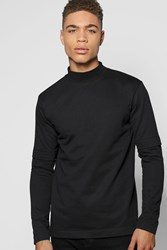 Boohoo Layer T Shirt With Turtle Neck Black