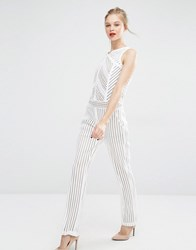 Supertrash Jumpsuit In Geo Lace Off White