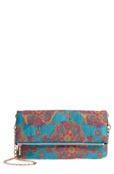 Sole Society Floral Jacquard Foldover Clutch Pink Blush Combo