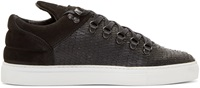 Filling Pieces Black Hairy Fur Mountain Cut Low Top Sneakers