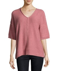Lafayette 148 New York Drop Shoulder Relaxed Sweater Rose
