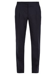 Thom Sweeney Brook Slim Leg Wool And Cashmere Blend Trousers Navy