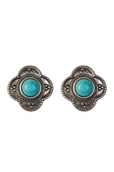 Spring Street Turquoise Medallion Stud Earrings Blue