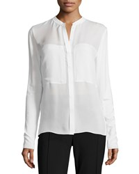 Elie Tahari Long Sleeve Placket Front Blouse Antique