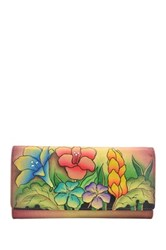 Anna By Anuschka Hand Painted Leather Trifold Multi Pocket Wallet