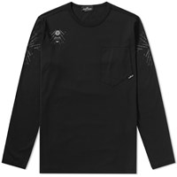 Stone Island Shadow Project Long Sleeve Garment Dyed Graphic Tee Black