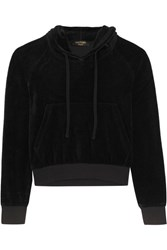 Vetements Juicy Couture Embellished Cotton Blend Velour Hooded Top Black