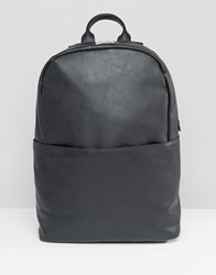 Asos Backpack In Black Faux Leather Black