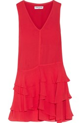 Opening Ceremony Mercer Ruffled Crinkled Silk Chiffon Mini Dress Red